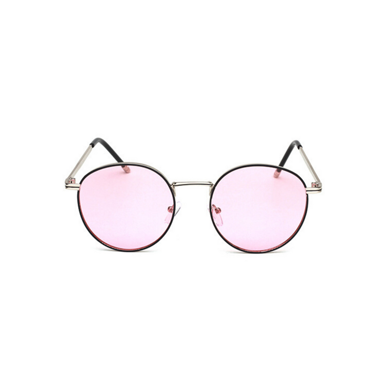 Front view of pink, circle sunglasses, with pink tinted lenses.