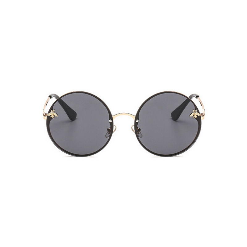 Front view of black, large circle sunglasses, with dark lenses and bee detail on the lenses.