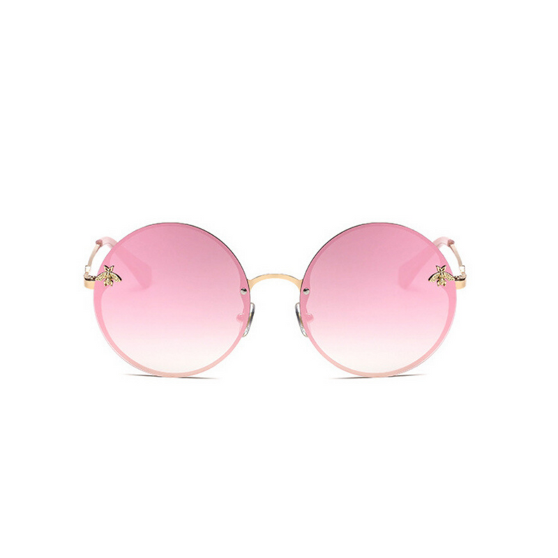 Front view of pink, large circle sunglasses, with mirror lenses and bee detail on the lenses.