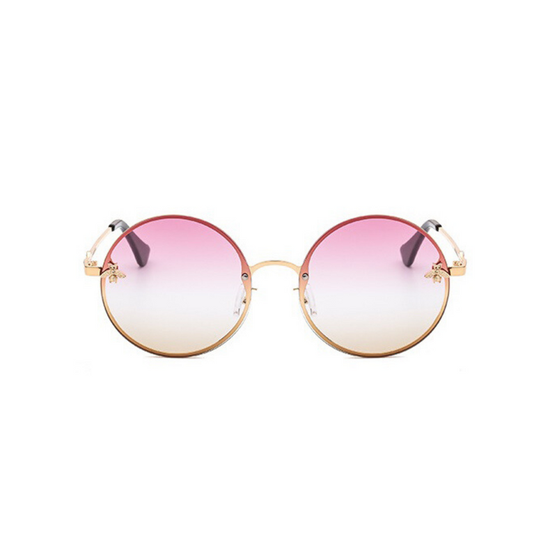 Front view of pink and yellow, large circle sunglasses, with tinted lenses and bee detail on the lenses.