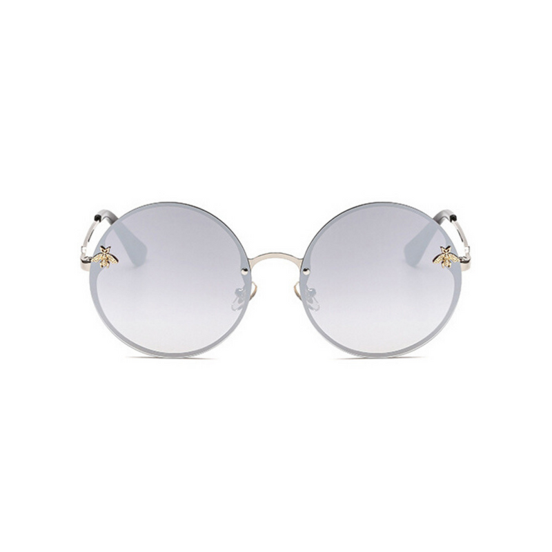 Front view of silver, large circle sunglasses, with mirror lenses and bee detail on the lenses.