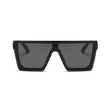 Front view of black, square block sunglasses, with dark lenses.