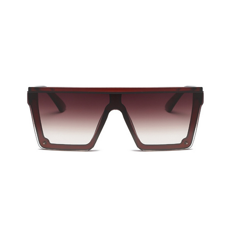 Front view of brown, square block sunglasses, with brown gradient lenses.