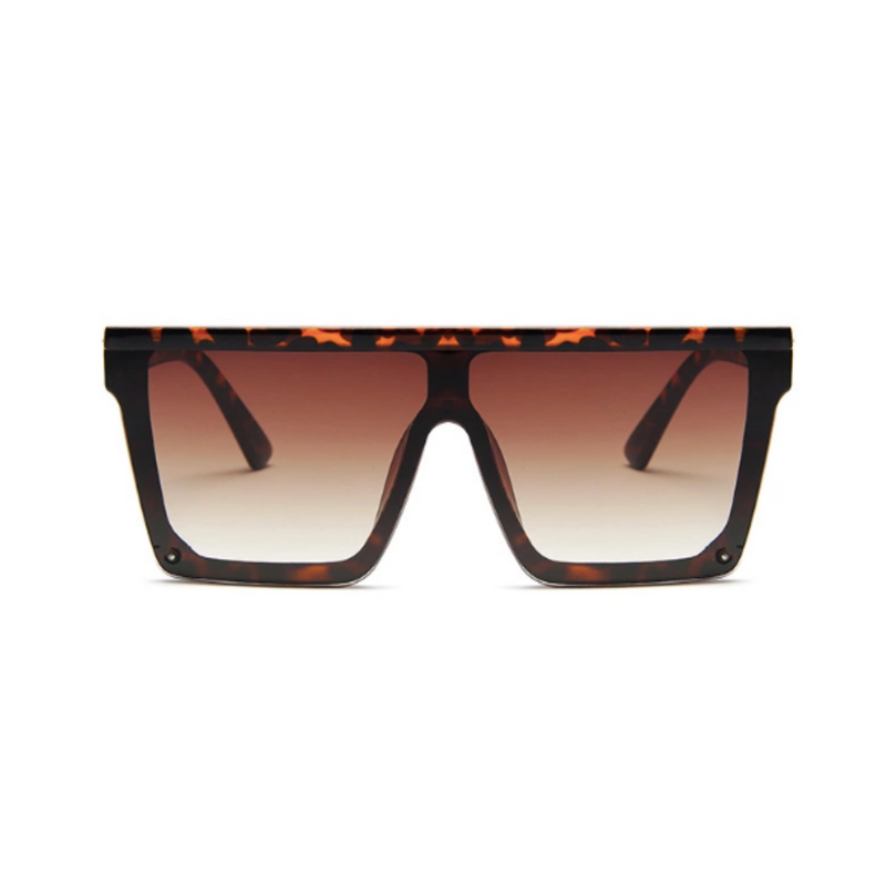 Front view of leopard, square block sunglasses, with brown gradient lenses.