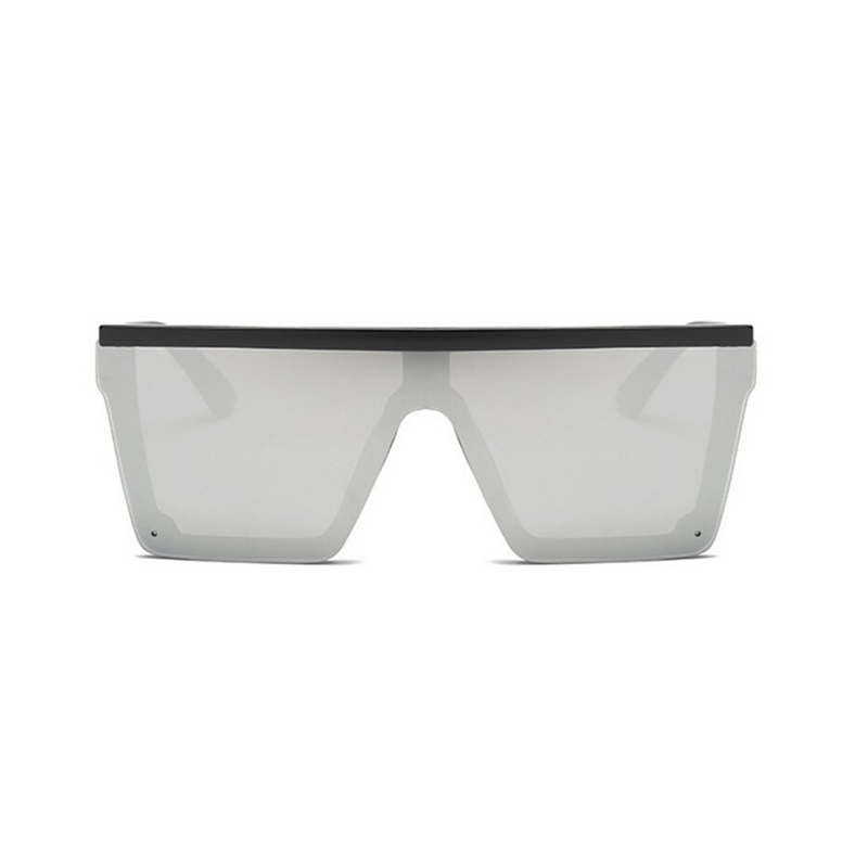 Front view of silver, square block sunglasses, with mirror lenses.