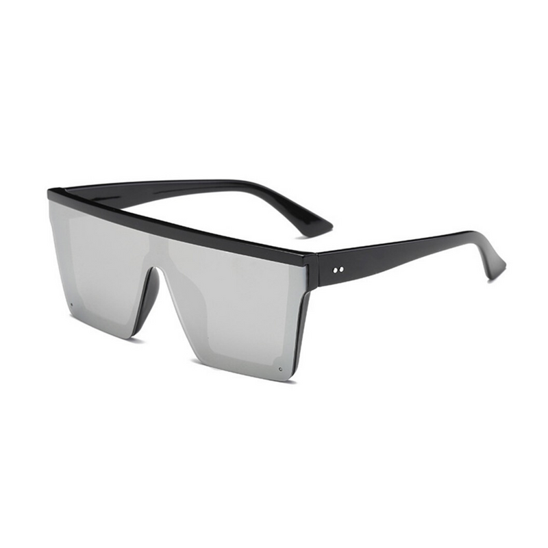 Side view of silver, square block sunglasses, with mirror lenses.