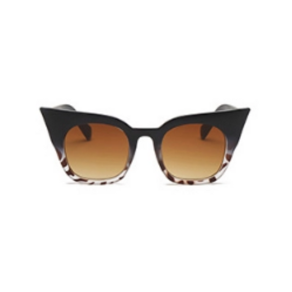 Front view of black and leopard, super cat eye sunglasses, with brown lenses.