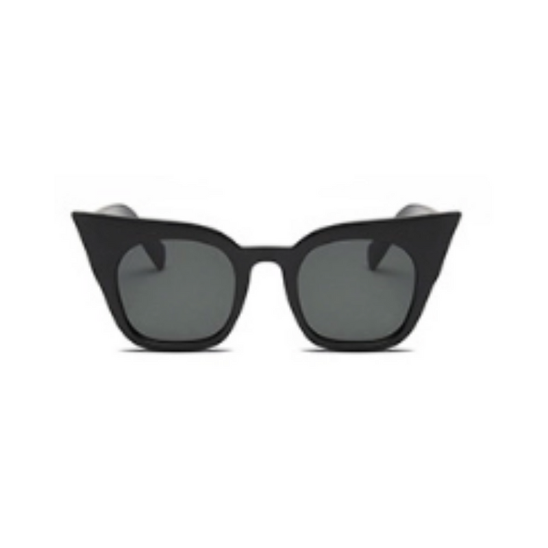 Front view of black matte, super cat eye sunglasses, with dark lenses.