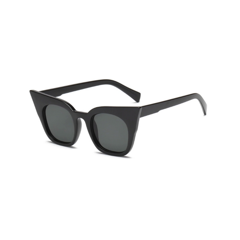 Side view of black matte, super cat eye sunglasses, with dark lenses.