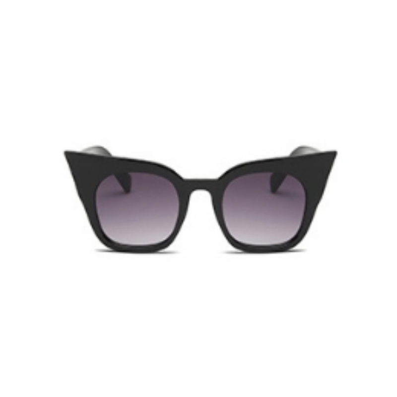 Front view of black shinny, super cat eye sunglasses, with black gradient lenses.