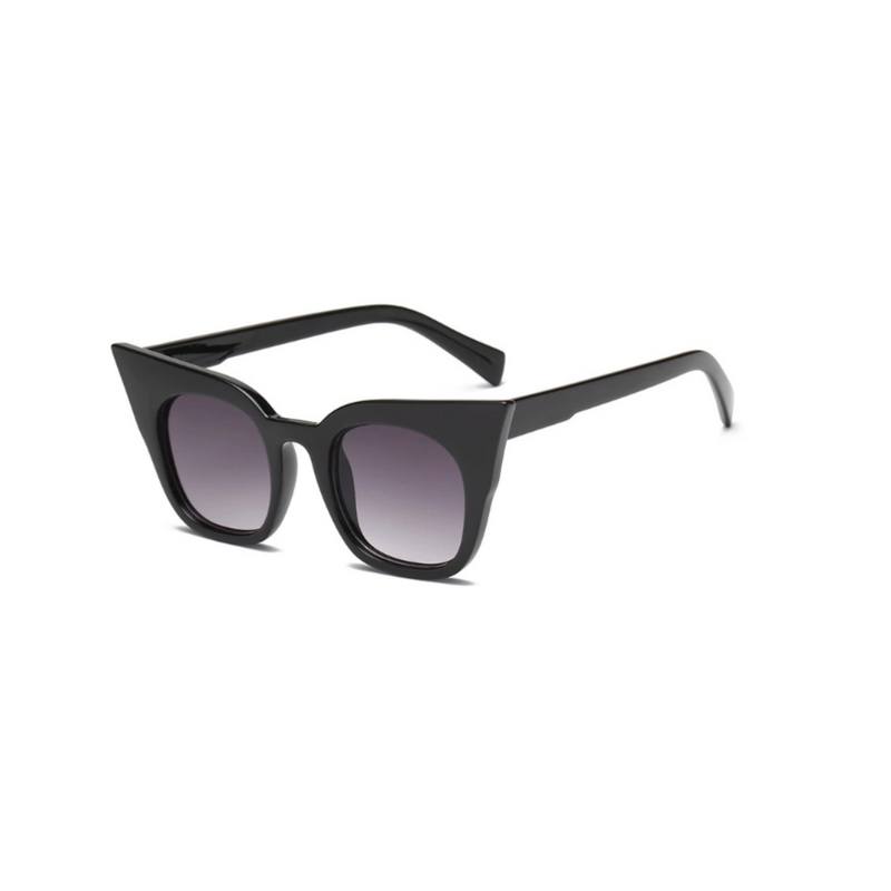 Side view of black shinny, super cat eye sunglasses, with black gradient lenses.