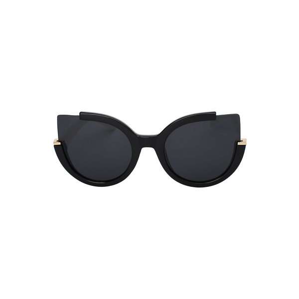 Front view of black, large cat eye sunglasses, with dark lenses.