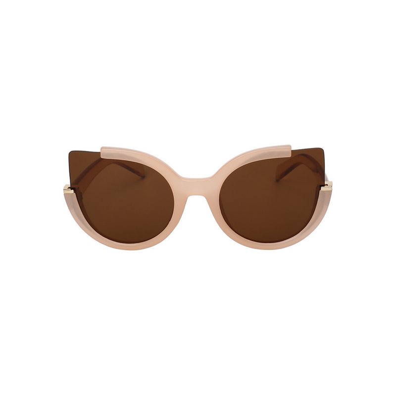 Front view of brown, large cat eye sunglasses, with dark lenses.