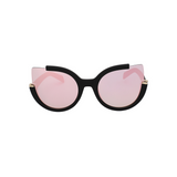 Front view of pink, large cat eye sunglasses, with mirror lenses.