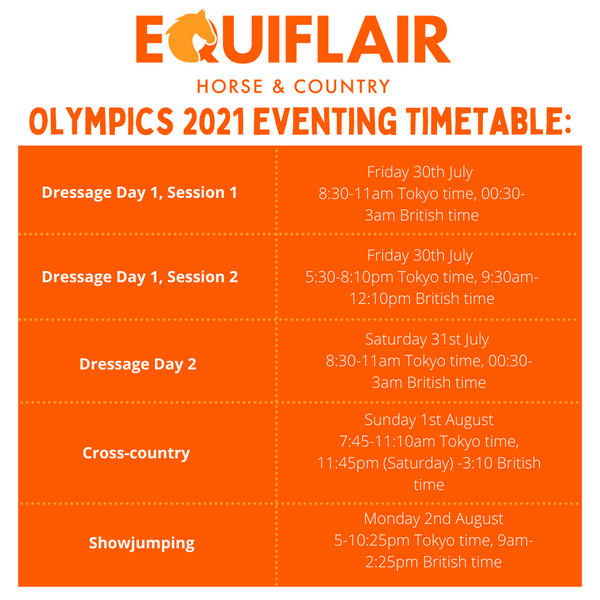 Olympic Eventing Timetable