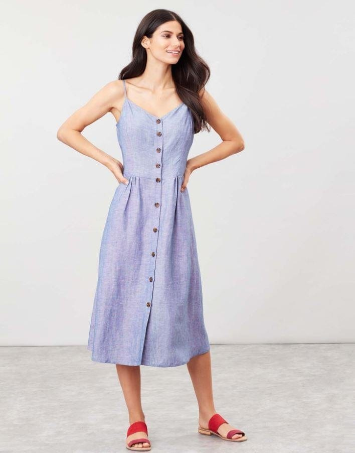 Joules Abby Solid Button Through Strappy Dress