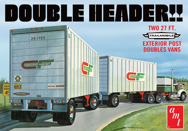 AMT (#1132) 1/25 Scale  Double Header Tandem Van Trailers Plastic Model Kit