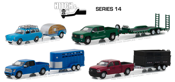 Greenlight (#32140-CASE) 1/64 Scale  Hitch and Tow Series 14 - 12-Piece Assortment  Three 4-Piece SETS in Non-Returnable FACTORY SEALED CASE