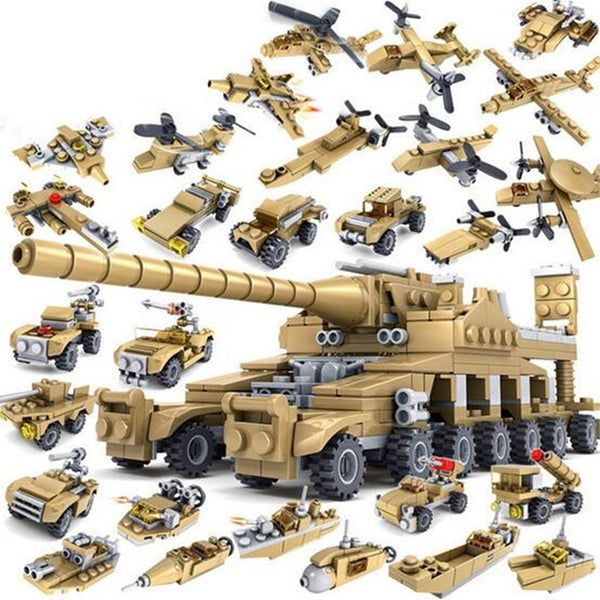 544 pcs 16 in 1 Total 33 Models Army  Transformation Super Fire Tank Building Brick Set
