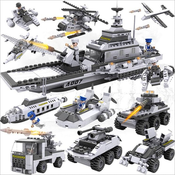 8 In 1 Aircraft Carrier Bricks 25 Models Military Building Brick Set
