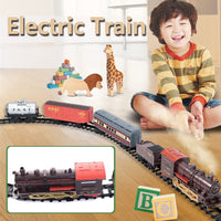 Classic Electric Smoking Assembling Track With Sound Steam Train Kids Educational Toys