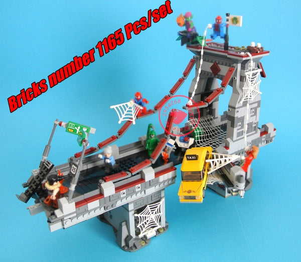 New Super heroes Spiderman Bridge Battle fit legoings avengers infinity wars marvel Building Block bricks 76057
