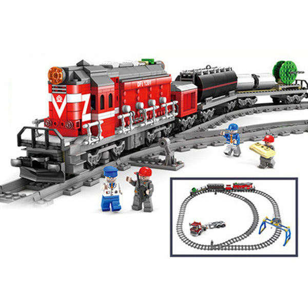 KAZI DF5 GBL City Power Driven Diesel Train Track Rail Trailer Truck Electric Building Blocks Sets Bricks Kids Model Toys 98219