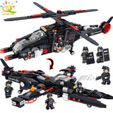 577PCS SWAT Police Helicopter Warship Brick Set Compatible LEGO City Soldier Figure Bricks