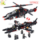 577PCS SWAT Police Helicopter Warship Building Blocks Compatible legoed City Soldier Figure Bricks
