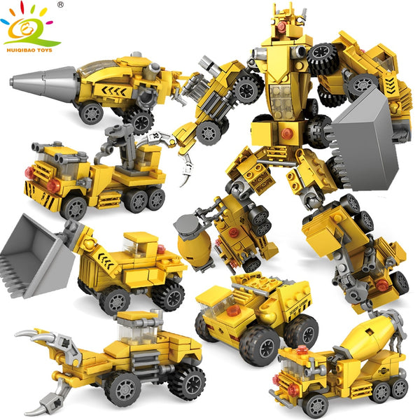 368pcs 6in1 Engineering Excavator Bulldozer Robot Building Block set Compatible legoed City Educational Bricks Toys for children