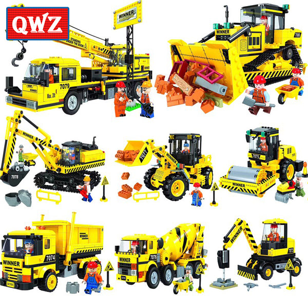 QWZ City Construction Engineering Vehicles Model Building Brick Set Compatible Lego