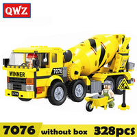 QWZ City Construction Engineering vehicles Model Building Blocks Compatible Legoings City Excavator DIY Bricks Children Boy Toy
