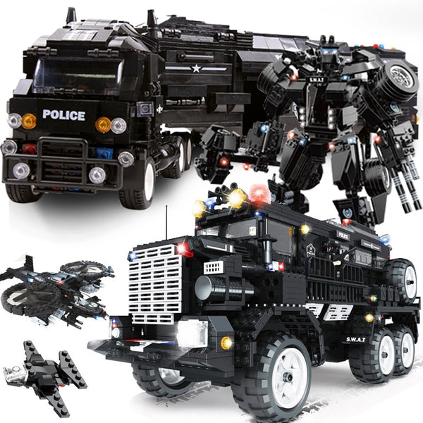 SWAT city police arms truck car sets model building kits helicopter vehicle brick se