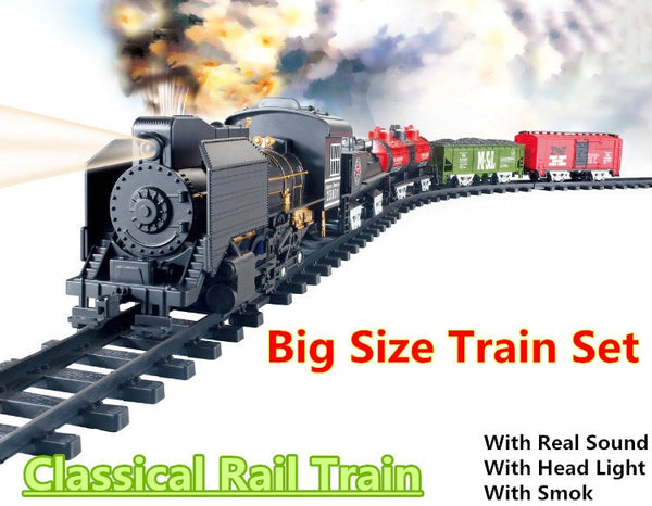 Big Size Classic toys Battery Operated Railway Rail Train 212*92 Electric Toy Railway Car with Sound&Smoking Rail Car for Child