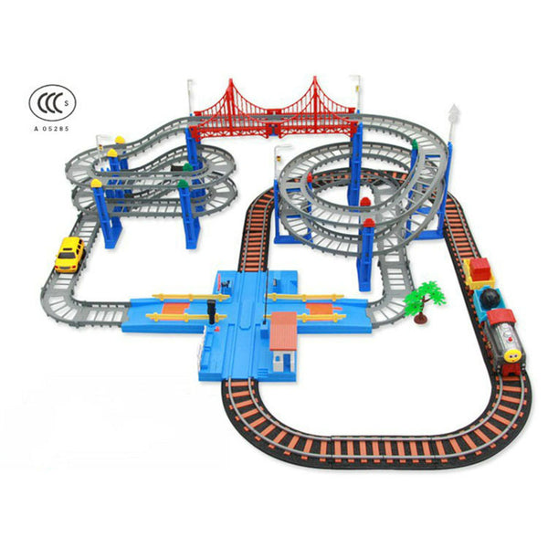 Electric Rail Car Two-layer Spiral Track Roller Coaster Slot car Toy Track Diecast Railway Track Electric Electronic Trains Set