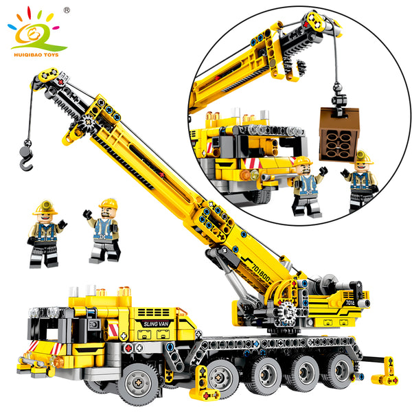 665pcs Technic Engineering Lifting Crane Building Blocks Compatible Legoingly Technic truck Construction Brick