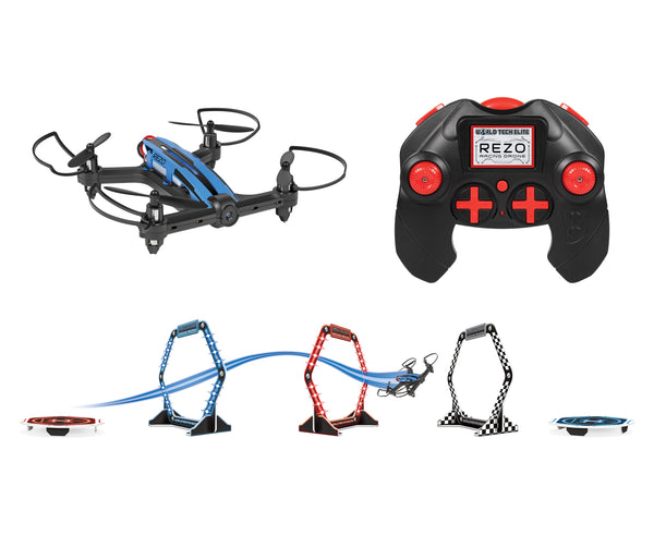 Elite REZO RC Racing Drone With 2 Light Up Course Rings (Colors May Vary)
