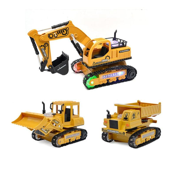 RC Cars 4CH Rechargeable Simulation RC Engineering Car Truck Excavator/Bulldozer/Dumper Model with Light Toys