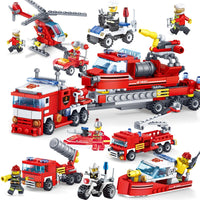 489Pcs Fire Fighting 8in1 Trucks Car Helicopter Boat Building Blocks Compatible Legoingly City Firefighter