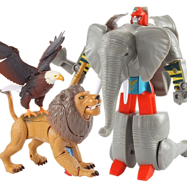 Transformation Robot Zoo Tiger Lion Panda Eagle Elephant Action Figures