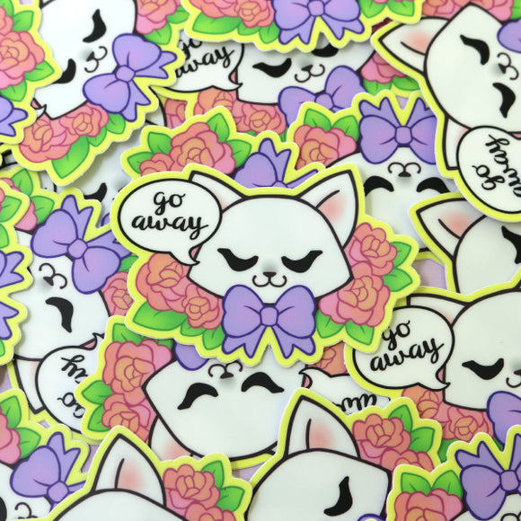 White Go Away Cat Sticker