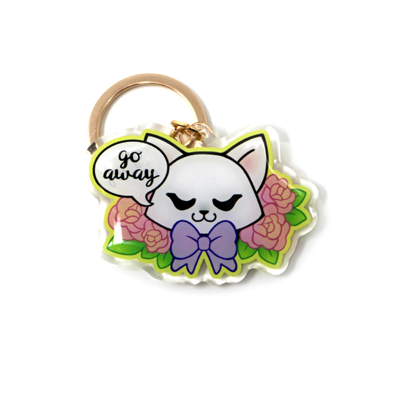 Go Away White Cat Acrylic Keychain