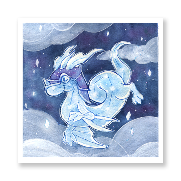 Celestial Dragon Watercolor Mini Print