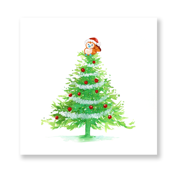 Pepe Christmas Tree Mini Print