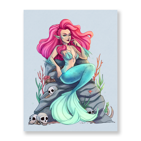 Mermaid Skulls Mini Print