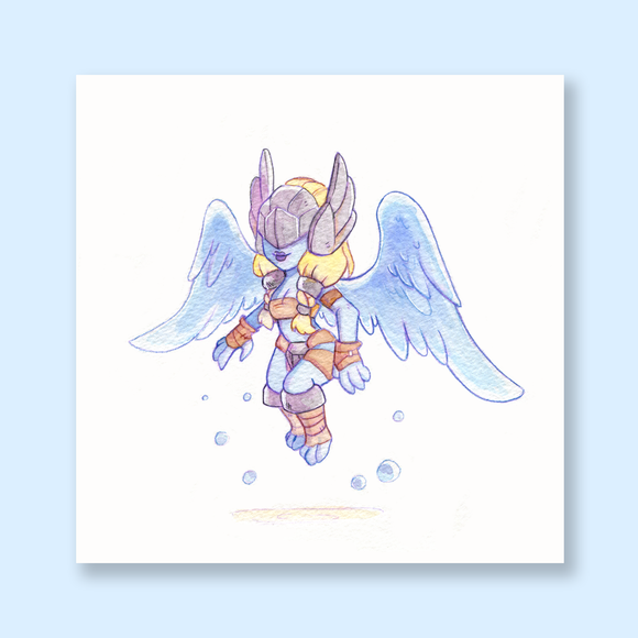 Val'kyr Chibi Watercolor Mini Print