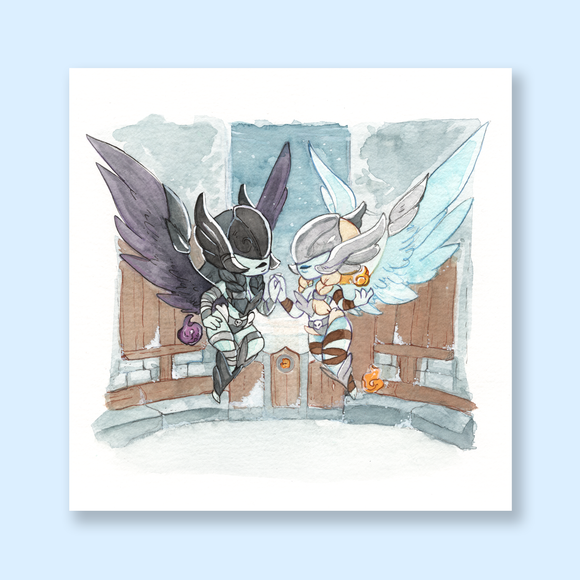 Twin Val'kyr Chibi Watercolor Mini Print