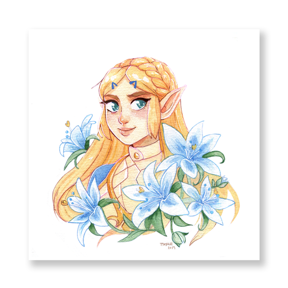 Breath of the Wild Zelda Watercolor Mini Print