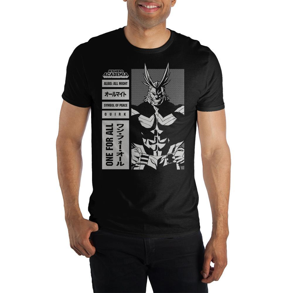 MHA My Hero Academia All Might Symbol Of Peace Men's Black T-Shirt Tee Shirt