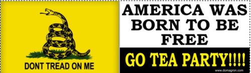 Tea Party America Was Born To Be Free Gadsden Liberty Bumper Sticker - DOMAGRON